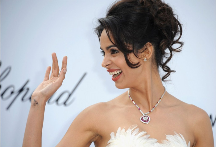 Mallika Sherawat Amfar Weinstein  Cannes Film Festival  Hot Cleavage gallery pictures