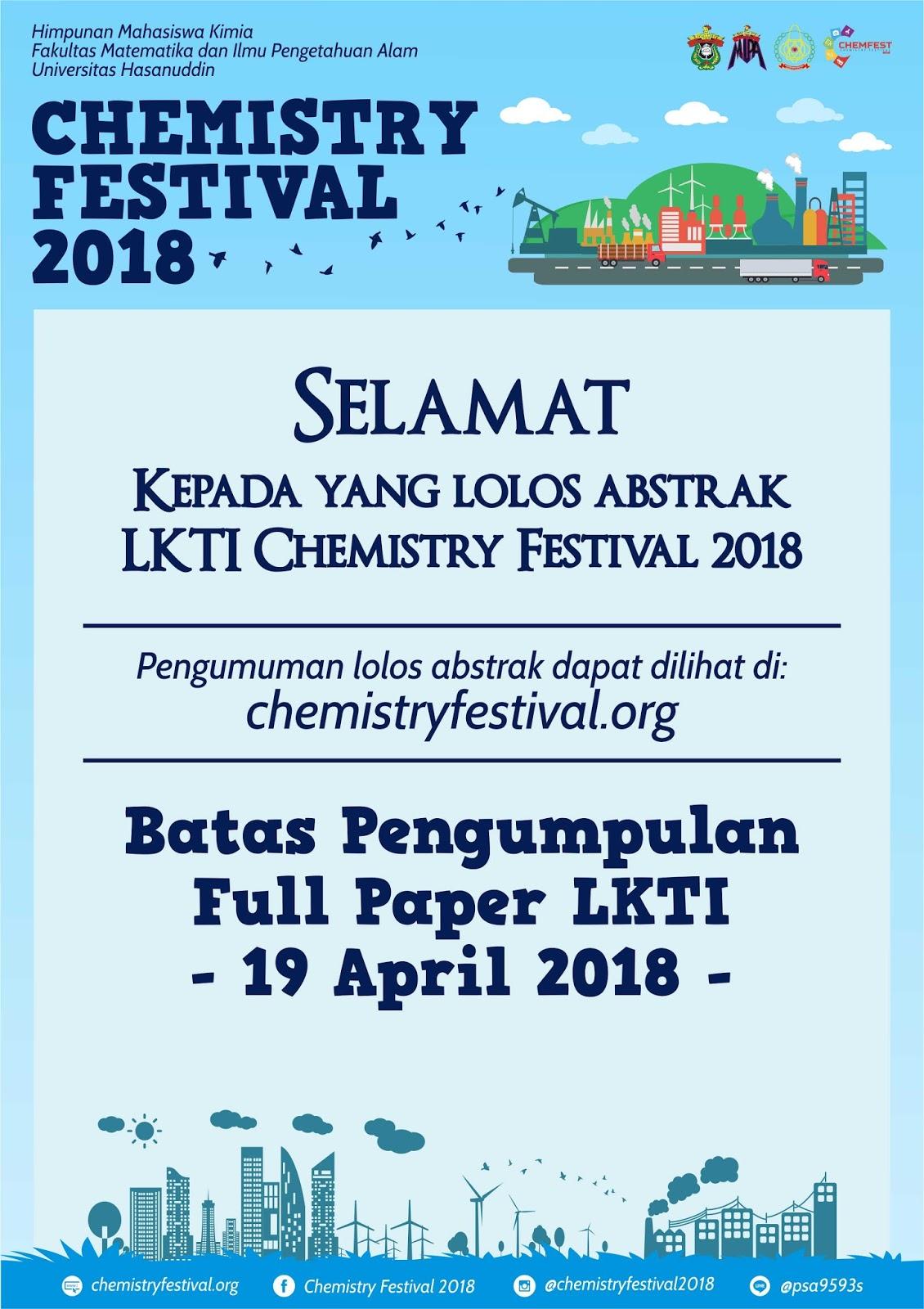 Pengumuman Hasil Seleksi Lomba LKTIN CHMEFEST 2018