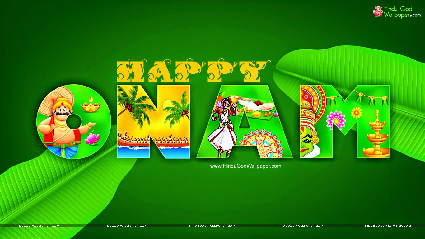 Leaf and maveli included in onam wallpaper