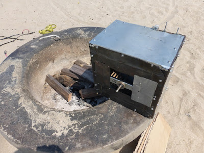 blower set up on fire pit