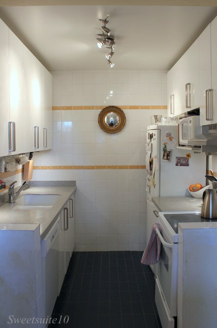 My Kitchen before - complete with mustard yellow accent tiles