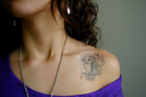 Bonito Coruja Colar De Osso Tatuagem