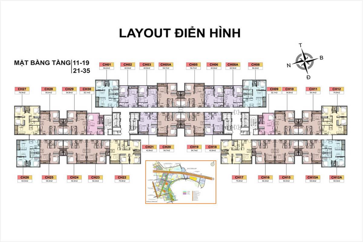Tầng 11-19, 21-35 Toà H3 Vincity Sportia