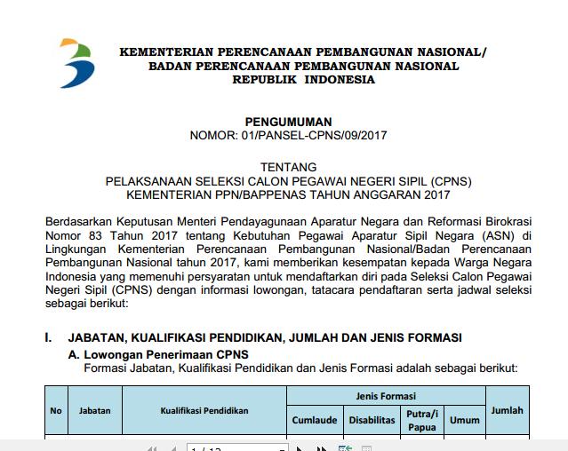 Bappenas Soal Dan Pendaftaran Cpns Kementerian Perencanaan