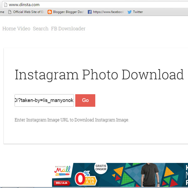 cara download foto di instagram dari pc