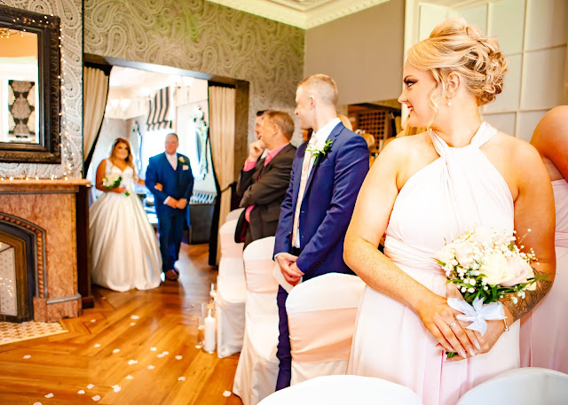 Wedding bride walks in to ceremony