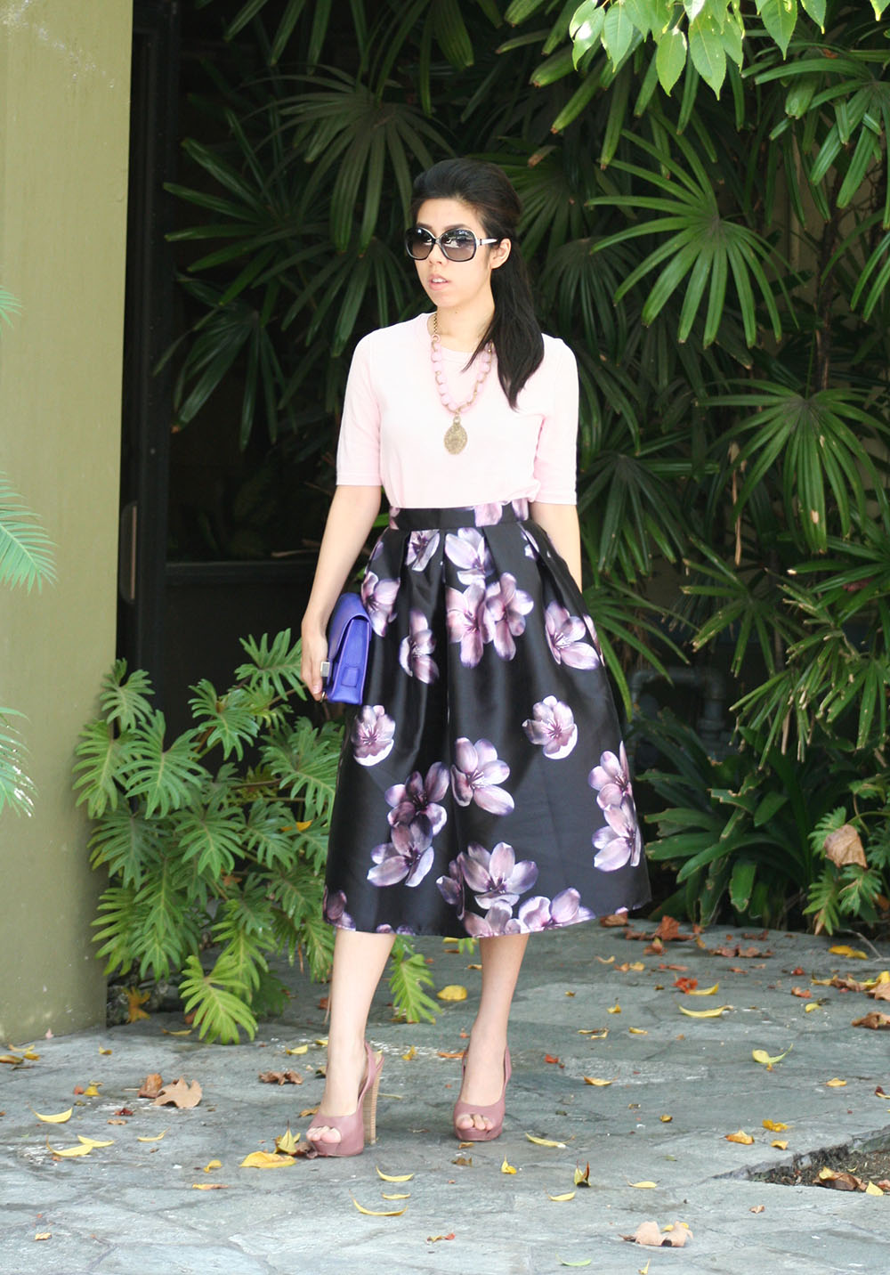 Adrienne Nguyen_Invictus_Souther Belle Fashion_Flower Full Midi Skirt _ Pink and purple outfit