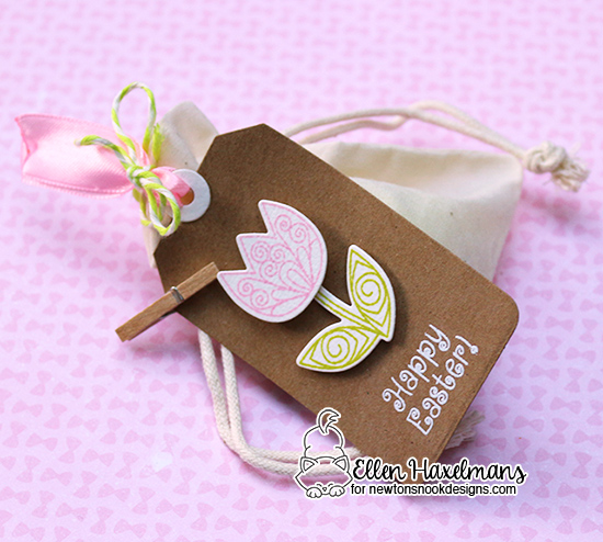Easter tag with Tulip by Ellen Haxelmans | Beautiful Spring Stamp Set by Newton's Nook Designs
