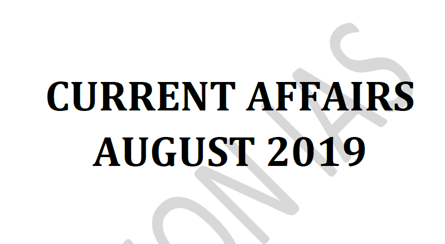 Vision IAS Current Affairs August 2019 pdf