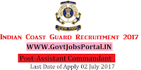 Indian Coast Guard Recruitment 2017– Assistant Commandant