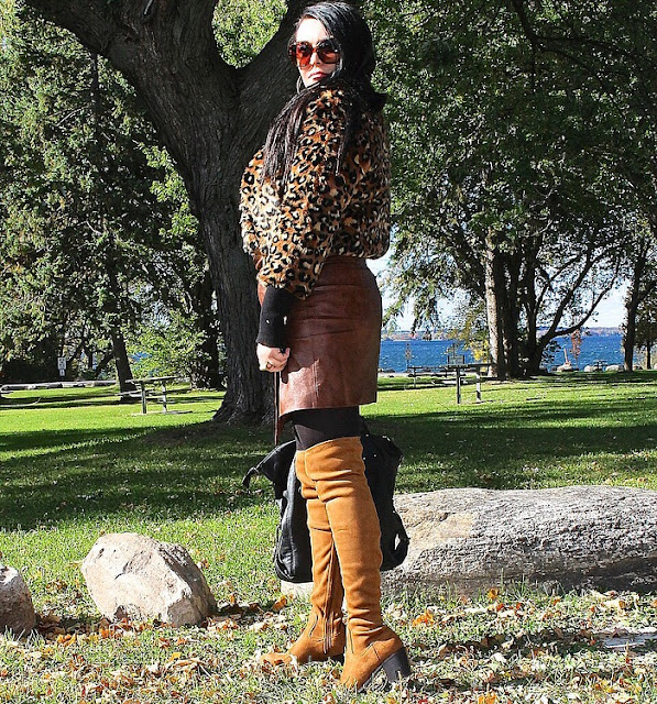 fall trends, thigh high boots, animal print faux fur, trendy fall fashion, faux leather skirt