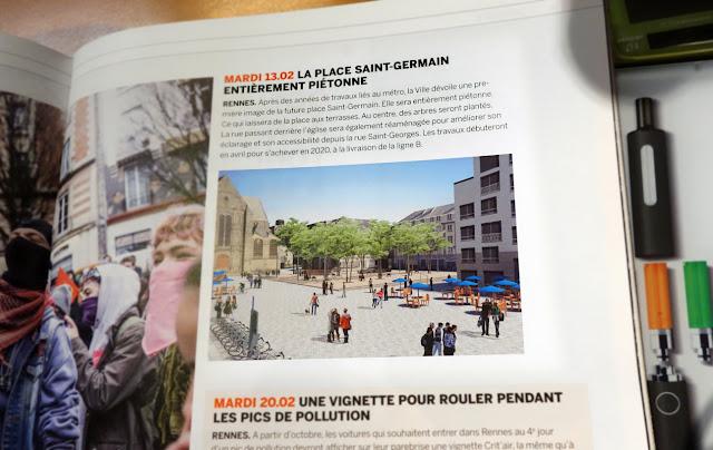 """Le """"Mensuel de Rennes"""" de ce mois de Mars et la Place Saint-Germain..."""
