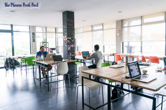 People work at Impact Hub co-working space in central Phnom Penh last year. Charlotte Pert