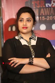 Tamil Actress Meena Latest Stills in Black Dress at TSR TV9 Awards Press Meet  0139.JPG