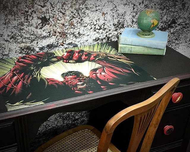 desk_makeover_with_superheros_and_The_Hulk_decoupaged_on_top