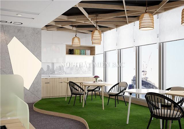Không gian giải trí, nghi ngơi giữa giờ thật ấn tượng và tiện nghi trong mẫu thiết kế nội thất văn phòng sang trọng này