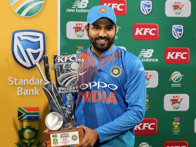Rohit Sharma takesa the winning Trophy vs south africa