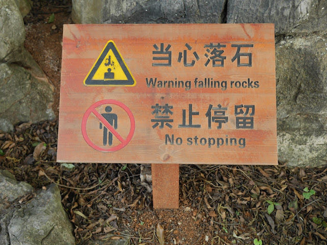 "sign with ""Warning falling rocks"" and ""No stopping"""