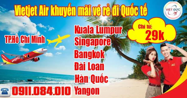 Bán vé máy bay đi quốc tế giá rẻ của Vietjet Air chỉ từ 29k
