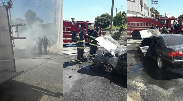 Veículo pega fogo na Av. Romualdo de Souza Brito em Pinhal
