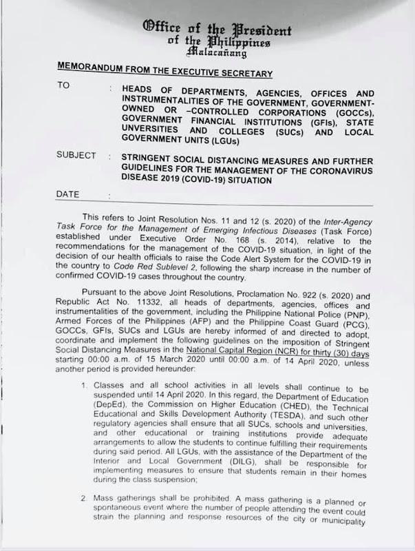 Metro Manila Lockdown Community Quarantine Guidelines