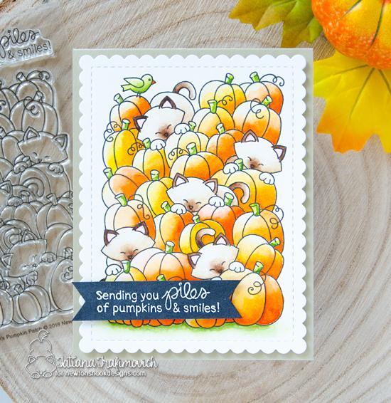 Cats in Pumpkin Patch Card by Tatiana Trafivomich | Newton's Pumpkin Patch Stamp Set by Newton's Nook Designs #newtonsnook
