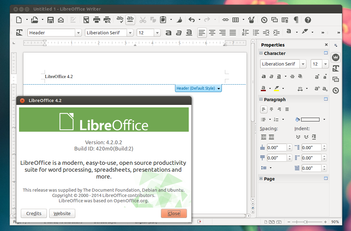 LibreOffice x64 screenshot