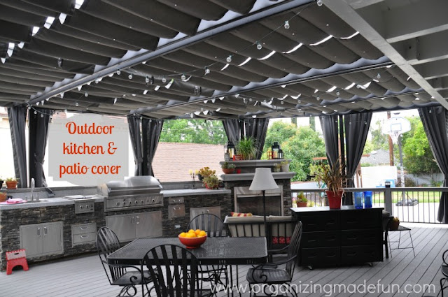 Outdoor Patio and Kitchen of Organizing Made Fun's home tour