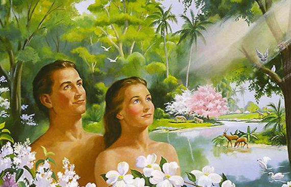 Adan y Eva en el paraíso terrenal de Edén
