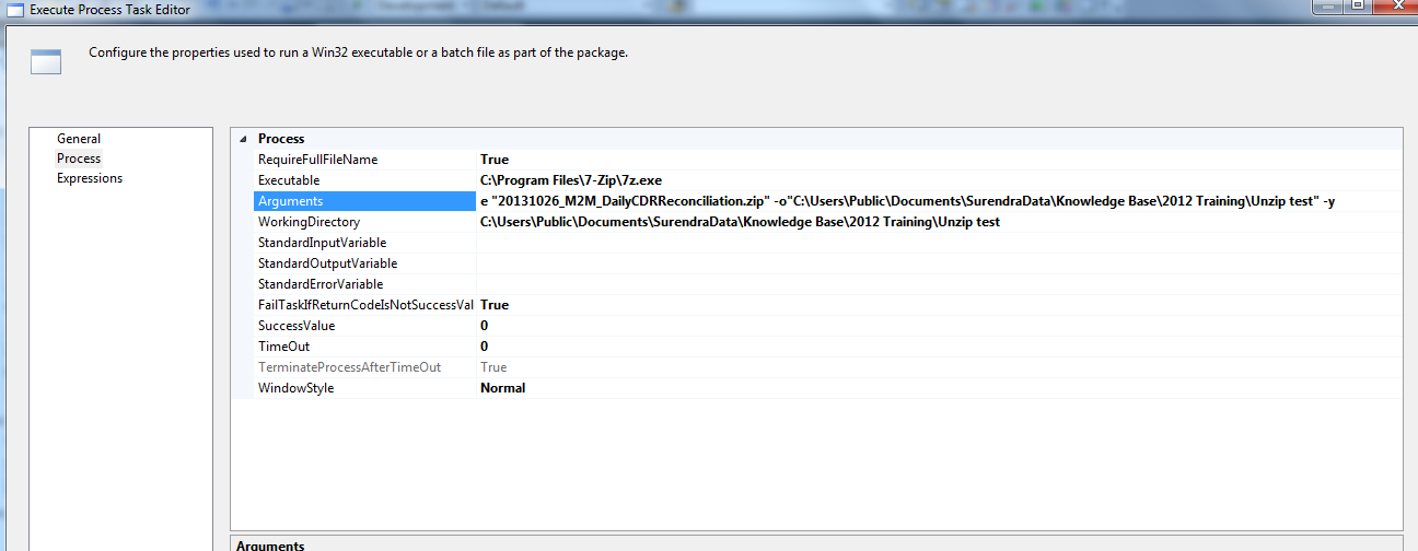 SSIS : Unzip folder using SSIS Execute Process Task