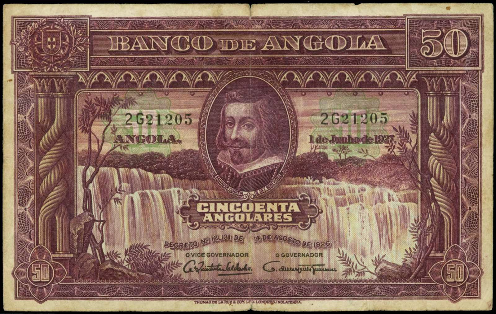Angola 50 Angolares banknote 1927 Salvador Correia