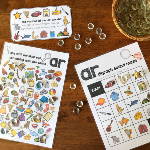 Printable Digraph Activities for /ar/ sound - sound mazes in colour and black and white plus I Spy game | you clever monkey