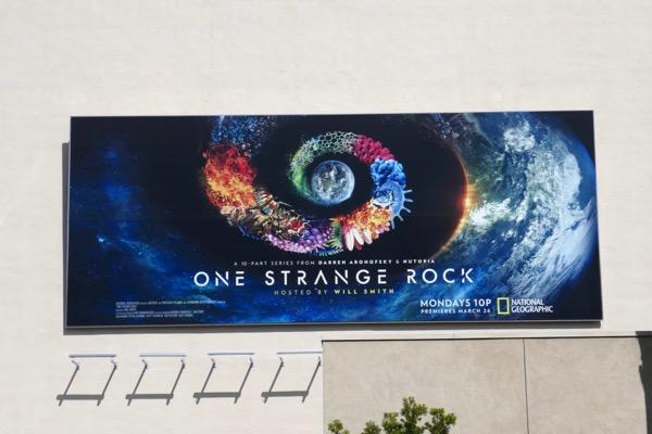 One Strange Rock series launch billboard
