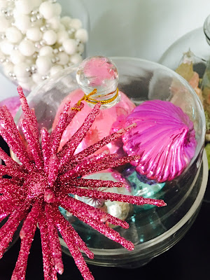 Pink ornaments, pastel ornaments in glass dish
