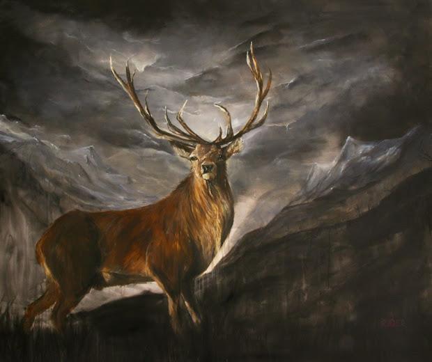 Red Stag Deer Painting