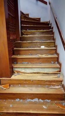 Escalera en madera pumaquiro acabado en DD.