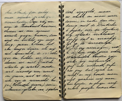 a page from my Corina Duyn's father's 1939-42 dairy, with very small handwriting