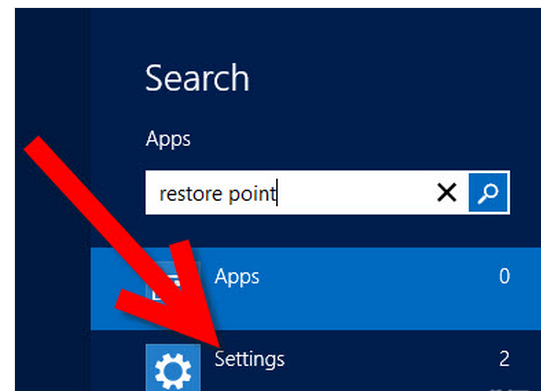 Create System Restore point in windows 8 step 1