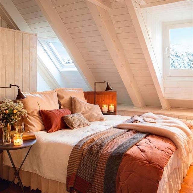 Casa tr s chic pensando nos quartos - Techos de madera blanco ...