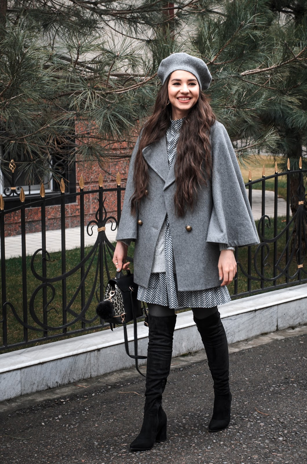 fashion blogger diyorasnotes over knee boots shift dress knitted cardigan beret grey outfit