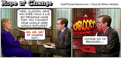 obama, obama jokes, political, humor, cartoon, conservative, hope n' change, hope and change, stilton jarlsberg, hillary, email server, fbi, lie, chris wallace, exploding head