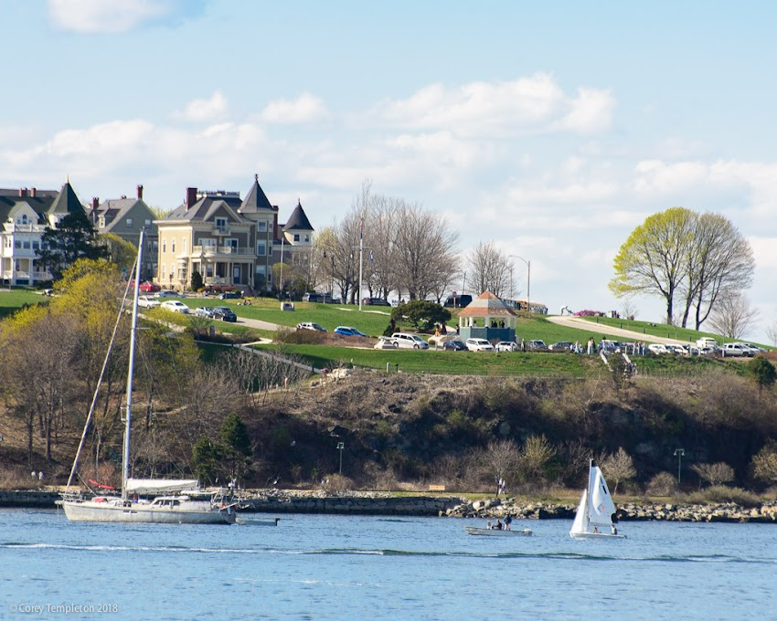 Portland, Maine USA May 2018 photo by Corey Templeton. The vista towards Fort Allen Park from South Portland's Bug Light Park.