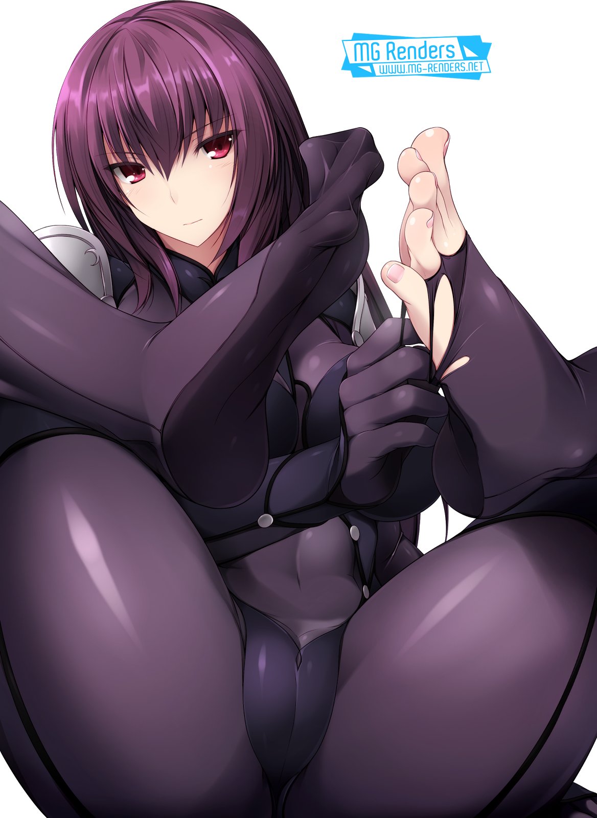 Tags: Anime, Render,  Bodysuit,  Fate Grand Order,  Feet,  Lancer,  Naturalton,  Pov Feet,  Scathach,  Spread legs,  Toes,  PNG, Image, Picture