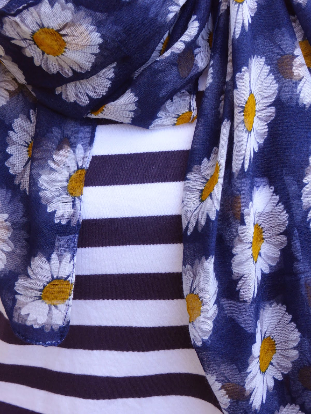 Over 40 blogger What Lizzy Loves combines breton stripes with floral scarf