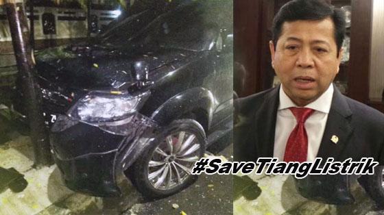 Bikin Ngakak! Kecelakaan Setya Novanto, Tagar #SaveTiangListrik Jadi Trending di Twitter