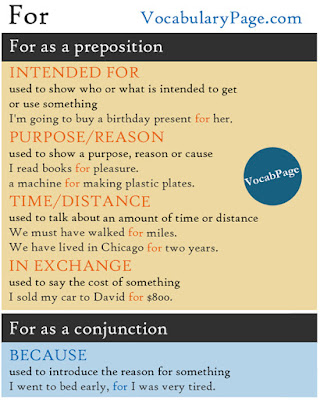 For preposition or conjunction