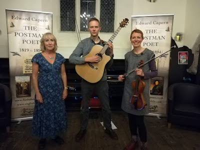 Devon author, Liz Shakespeare with musicians Nick Wyke and Becki Driscoll