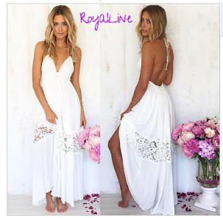 ef9a6c36a0 Biała długa sukienka plażowa - sukienki plażowe Royalline.pl ...