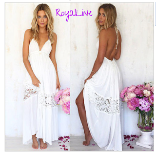 374ad5e9bc Biała długa sukienka plażowa - sukienki plażowe Royalline.pl ...