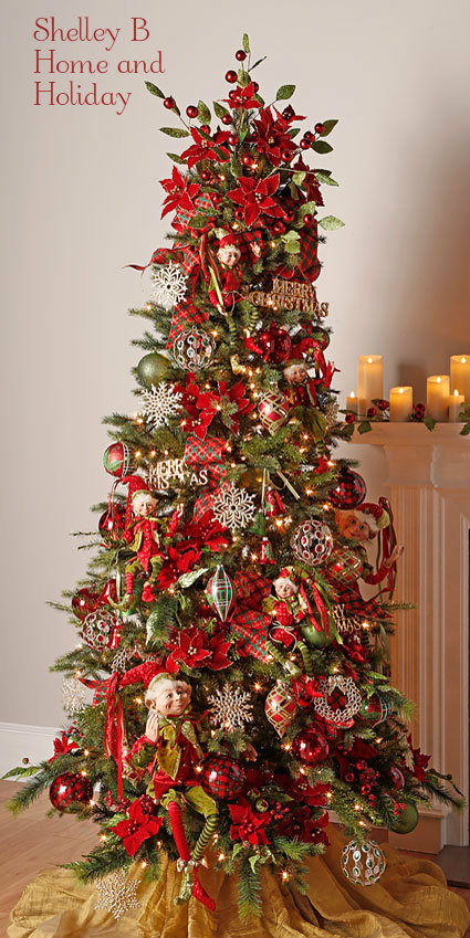 Timeless Trimmings decorated Christmas tree image. Ornaments shown are  available for purchase at Shelley B - RAZ Christmas At Shelley B Home And Holiday: Decorated Christmas